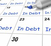 In Debt Calendar Shows Borrowed Money Owed