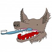An image of a dog getting his teeth brushed.