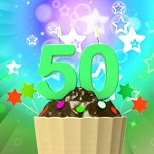 Fifty Candle On Cupcake Means Special Celebration Or Colourful E