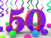 Number Fifty Party Means Colourful Birthday Party Or Decorated C