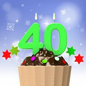 Forty Candle On Cupcake Shows Special Occasion Or Event