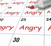 Angry Calendar Shows Mad Furious Or Resentful