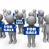 Characters Holding For Sale Signs Show Offers And Promotions