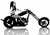 Beauty bikers women and retro motorcycle