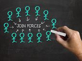 Join Forces On Blackboard Shows Armed Forces And Reliability