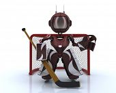 3D Render of a robot playing ice hockey