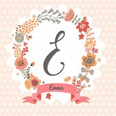 Personalized monogram in vintage colors. Stylish letter E. Can be used as greeting card, invitation card. Floral wreath in vector