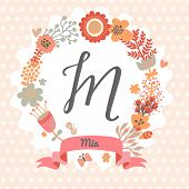 Personalized monogram in vintage colors. Stylish letter M. Can be used as greeting card, invitation card. Floral wreath in vector