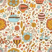 Bright transport concept seamless pattern in vector. Airship, ship, bicycle and air balloon in summer flowers.