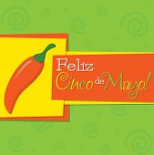 Funky Chilli 'feliz Cinco De Mayo' (happy 5Th Of May) Card In Vector Format.