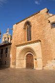 Valencia Cathedral romanesque door Puerta del Palau Almoina and Micalet Seu at Spain