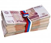 Heap of One Million Banknotes Rubles of the Russian Federation wrapping Ribbon flag tape - isolated
