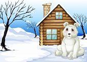 Illustration of a polar bear outside the wooden house