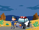 Illustration of a smiling policeman beside the patrol car