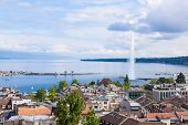 View Of Geneva Water Fountain From The Saint-pierre Cathedral - Switzerland