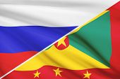 Series Of Ruffled Flags. Russia And Grenada.