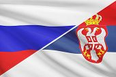 Series Of Ruffled Flags. Russia And Republic Of Serbia.