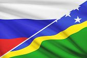 Series Of Ruffled Flags. Russia And Solomon Islands.