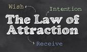 stock photo of laws-of-attraction  - The Three Step Process with Law of Attraction on Blackboard - JPG