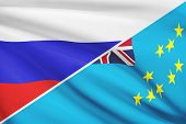 Series Of Ruffled Flags. Russia And Tuvalu.