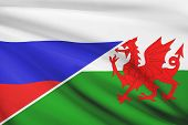 Series Of Ruffled Flags. Russia And Wales - Cymru.