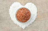Raw Thai Jasmine Rice And Raw Brown Rice Heart Shape