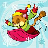 Cat Cartoon Bobsledding