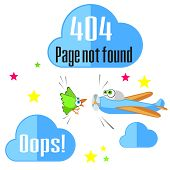 stock photo of not found  - Concept of not found error message with airplane and bird - JPG