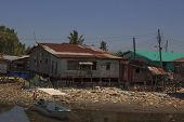KOTA KINABALU, MALAYSIA - APRIL 26 2014: Plastic rubbish pollution in poor slum. Photo showing pollu