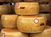BRA, ITALY - SEPTEMBER 22, 2013: Wheels of Parmesan - famous italian hard cheese made from raw cow's milk, often grated over dishes and named after producing areas near Parma, Italy.