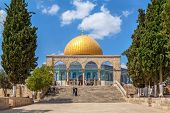 JERUSALEM, ISRAEL - AUGUST 21, 2013: Dome of the Rock - famous mosque constructed between 689 and 69