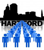 Lines of people with Hartford skyline vector illustration
