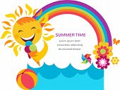 summer card with happy sun, colorful rainbow and flowers