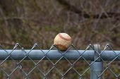 Baseball in a fence