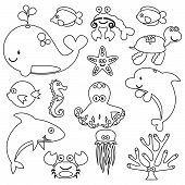foto of creatures  - Vector Set of Cute Sea Creature Line Art - JPG