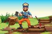 Illustration of a lumberjack chopping woods