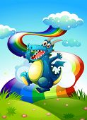 Illustration of a dragon at the hilltop and a rainbow in the sky