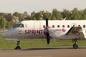 SprintAir Saab 340 aircraft located in the parking zone