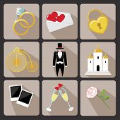 Design Wedding  Icons For Web And Mobile.vintage Vector