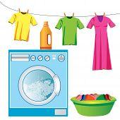Washing machine & laundry vector