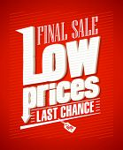 Low prices, final sale typographic design.