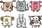 Square Animals Set Cartoon Illustration