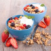 granola, berries and yogurt