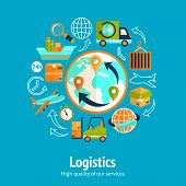 image of ship  - Logistic chain concept with globe and shipping freight service supply delivery icons vector illustration - JPG