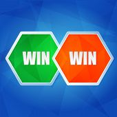 Win Win In Hexagons, Flat Design