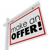 stock photo of negotiating  - Make an Offer Words Home For Sale Sign Negotiation Lower Price - JPG