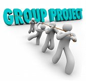 Group Project Words Team Pulling Assignment Working Together