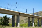 viaduct in Castejon de las Armas, Saragossa, Aragon, Spain, AVE Madrid Barcelona.