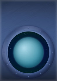 foto of uranus  - Space ship round window porthole with planet Uranus and stars on the wall with place for text - JPG