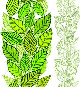 Seamless pattern with spring leaves, vertical composition, hand drawn